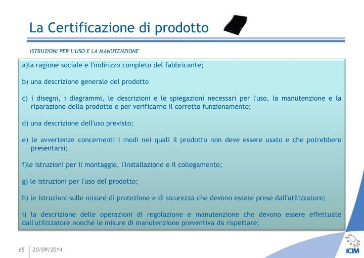 La Certificazione di prodotto