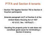 ptfa and section 8 tenants
