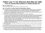 public law 111 22 effective date may 20 2009 title vii protecting tenants at foreclosure act