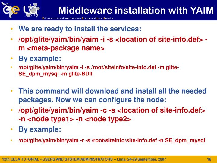 Middleware installation with YAIM