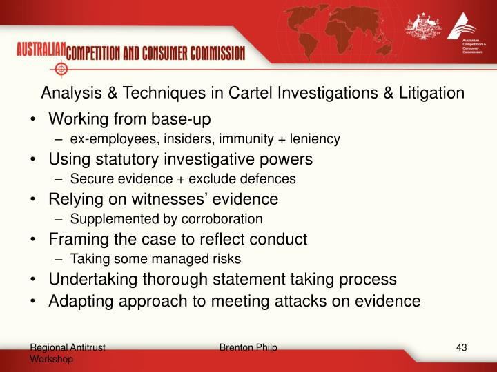 Analysis & Techniques in Cartel Investigations & Litigation