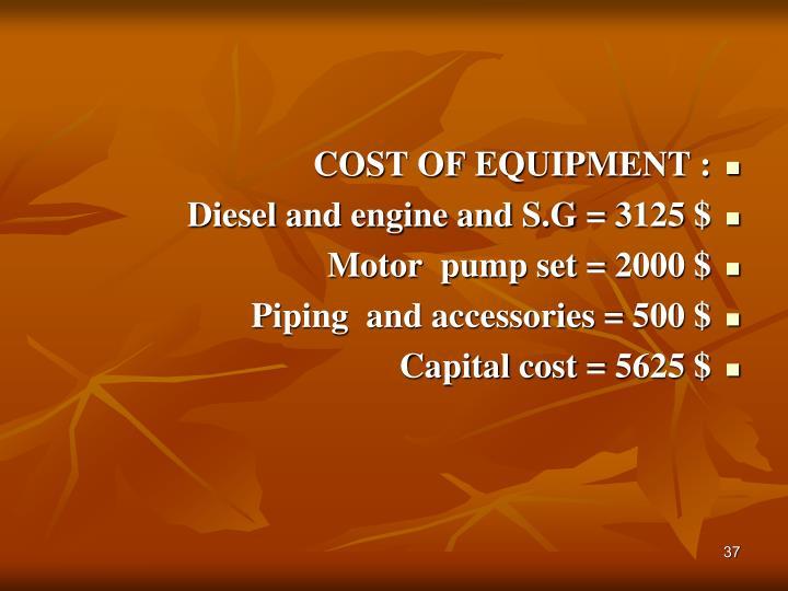 COST OF EQUIPMENT :