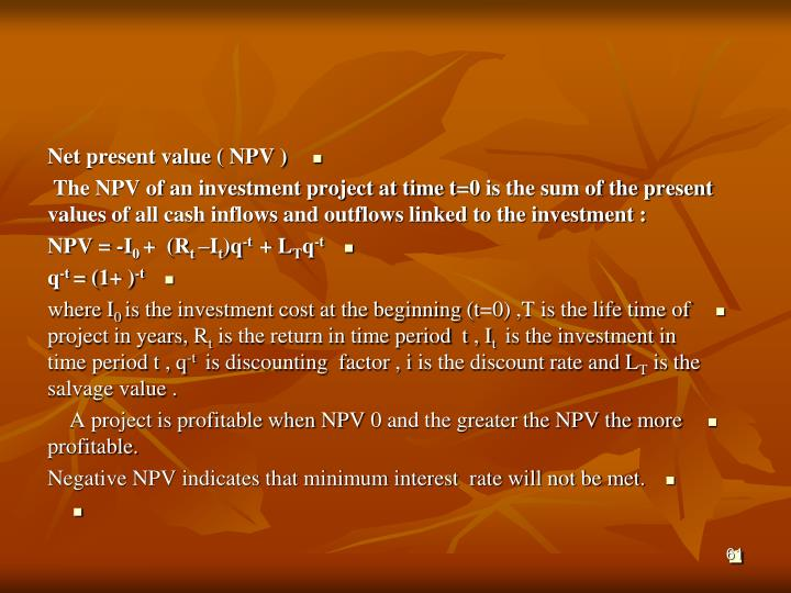 Net present value ( NPV )