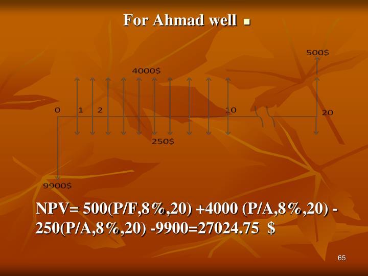 For Ahmad well
