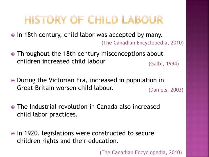 history of child labour The decline of child labour: labour markets and family economies in europe and north america since 18301 by hugh cunningham r t he history of child.