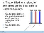 is tina entitled to a refund of any taxes on the boat paid to carolina county