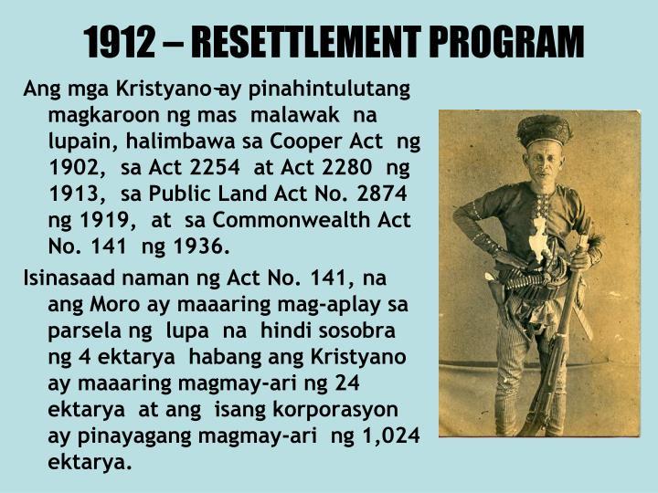 1912 – RESETTLEMENT PROGRAM