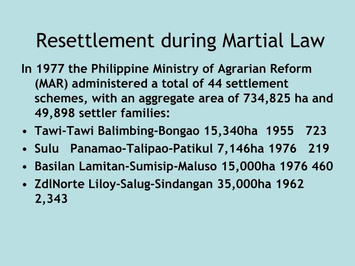 Resettlement during Martial Law