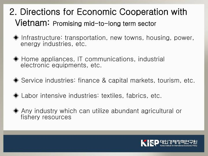 2. Directions for Economic Cooperation with