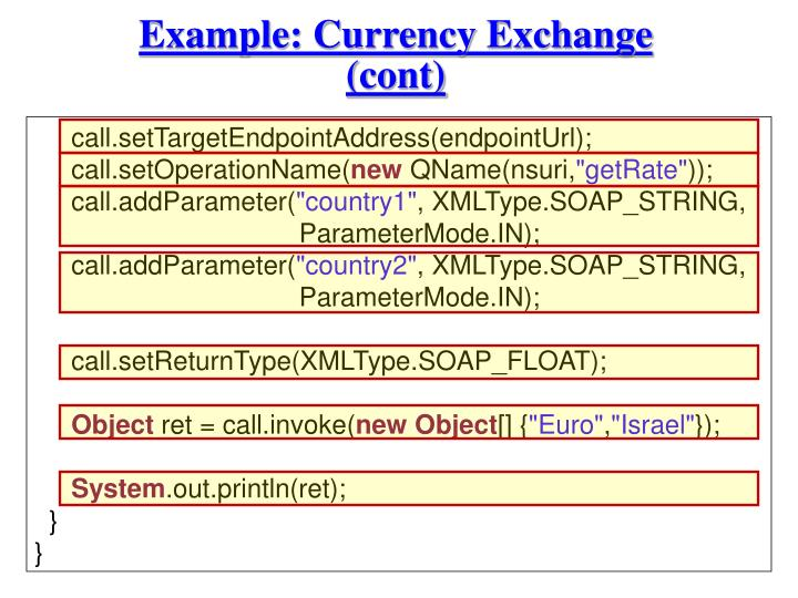 Example: Currency Exchange (cont)