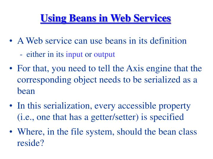 Using Beans in Web Services