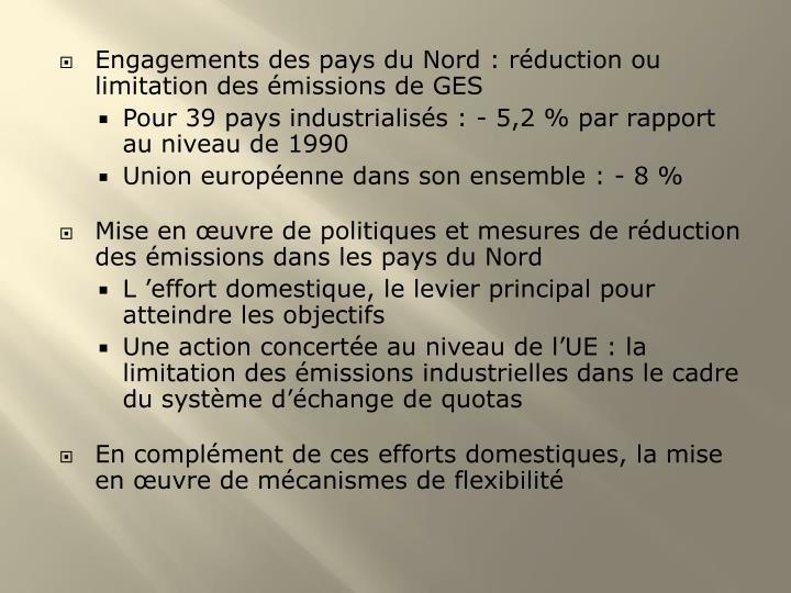Engagements des pays du Nord : réduction ou limitation des émissions de GES