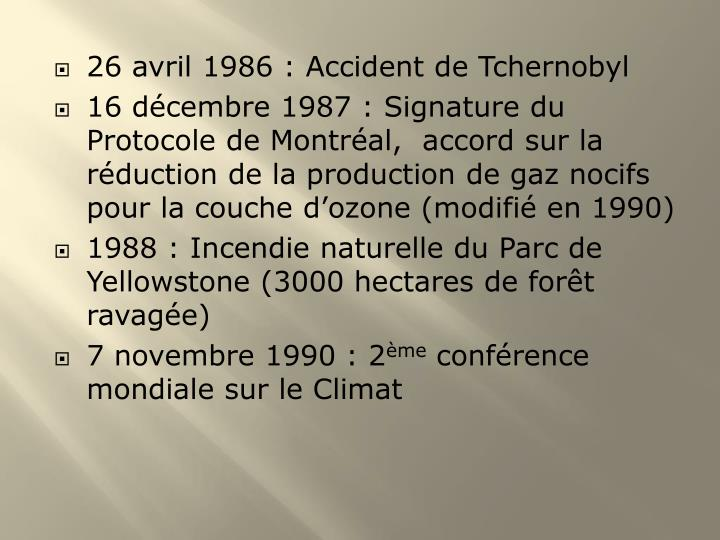 26 avril 1986 : Accident de Tchernobyl