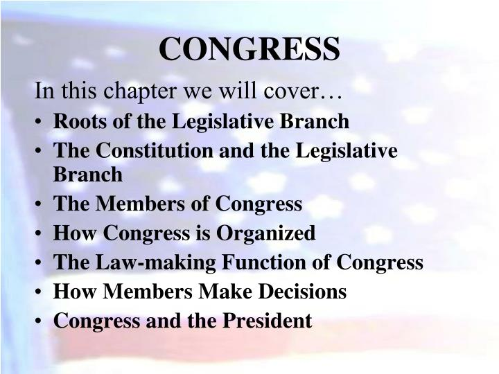 functions congress The united states congress is the bicameral legislature of the federal government of the united states the legislature consists of two chambers: the house of representatives and the senate  the congress meets in the united states capitol in washington, dc.