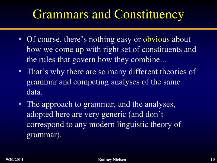Grammars and Constituency