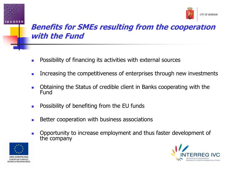 Benefits for SMEs resulting from