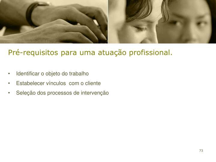 Pré-requisitos para uma atuação profissional.