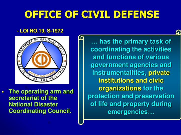 … has the primary task of coordinating the activities and functions of various government agencies and instrumentalities,