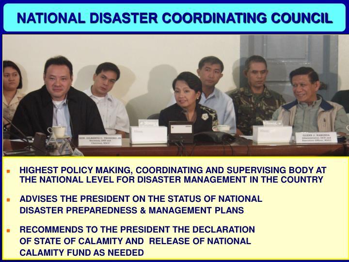 NATIONAL DISASTER COORDINATING COUNCIL