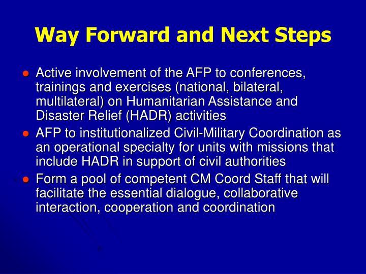 Way Forward and Next Steps