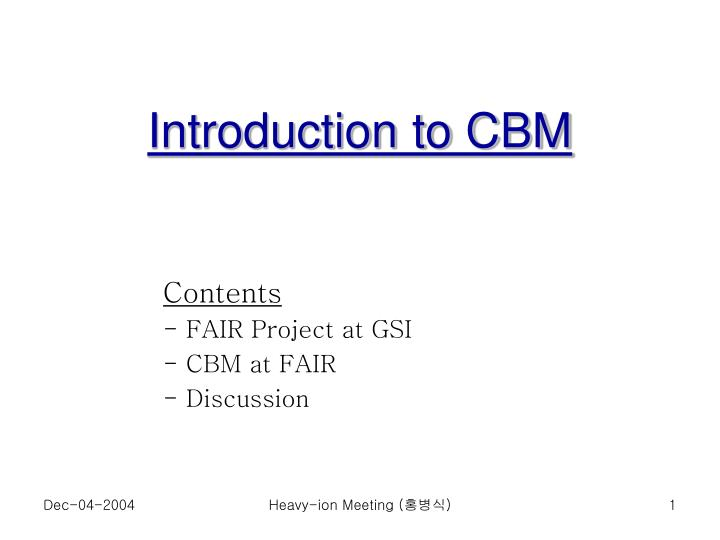 introduction to cbm n.