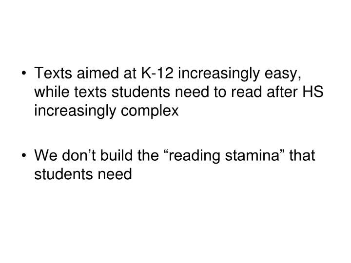 Texts aimed at K-12 increasingly easy, while texts students need to read after HS increasingly complex