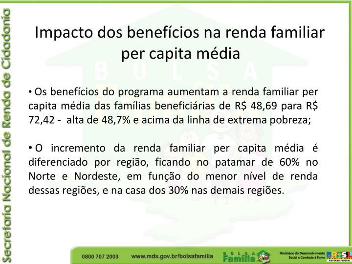 Impacto dos benefícios na renda familiar