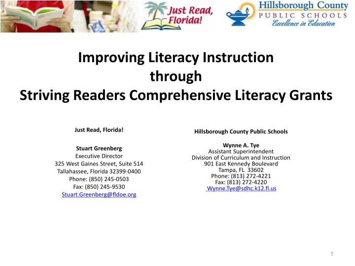 improving literacy instruction through striving readers comprehensive literacy grants n.