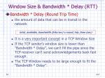 window size bandwidth delay rtt1