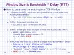 window size bandwidth delay rtt2