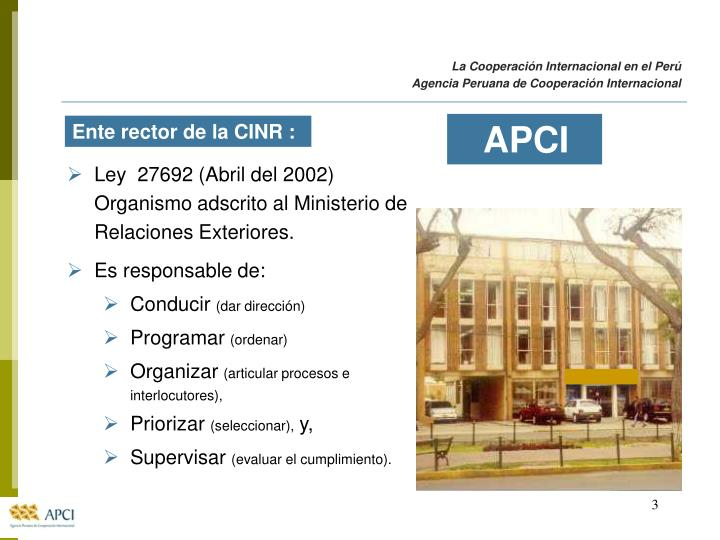 La Cooperación Internacional en el Perú