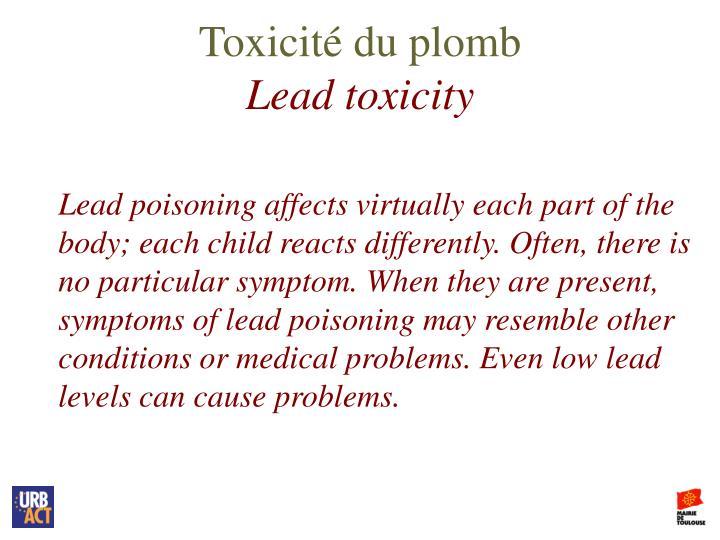 Toxicité du plomb