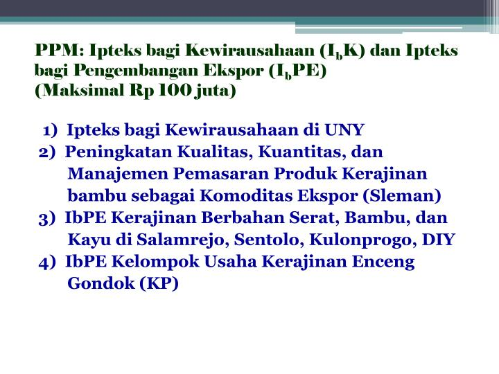 PPM: Ipteks bagi Kewirausahaan (I