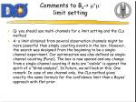 comments to b s m m limit setting