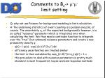 comments to b s m m limit setting1