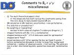 comments to b s m m miscellaneous