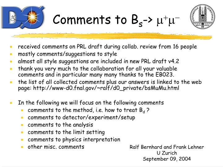 comments to b s m m n.
