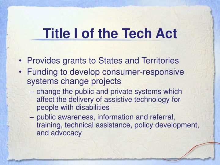 Title i of the tech act
