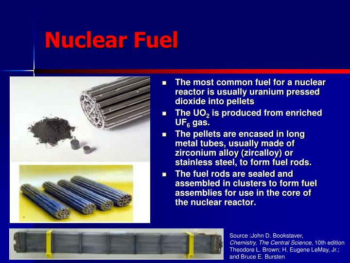 The most common fuel for a nuclear reactor is usually uranium pressed dioxide into pellets