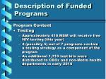 description of funded programs5