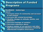 description of funded programs9