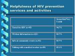 helpfulness of hiv prevention services and activities