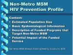 non metro msm hiv prevention profile