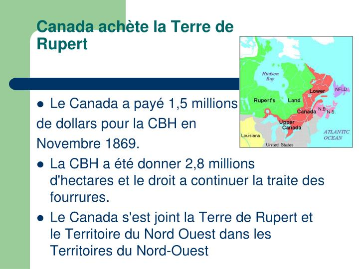 Canada achètela Terre de