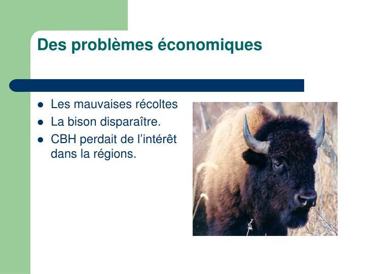 Des problèmes économiques
