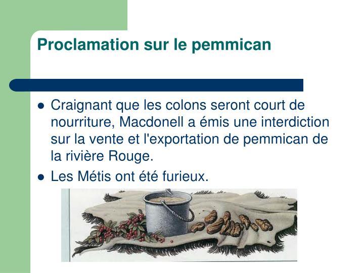 Proclamation sur le pemmican