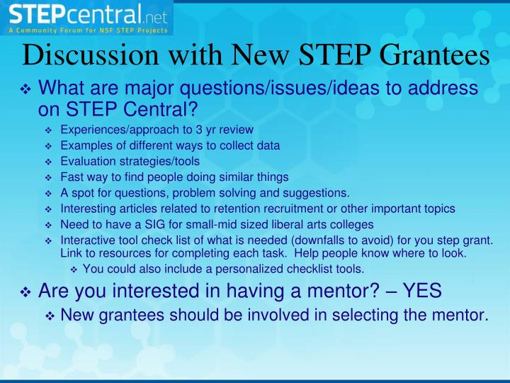 Discussion with New STEP Grantees