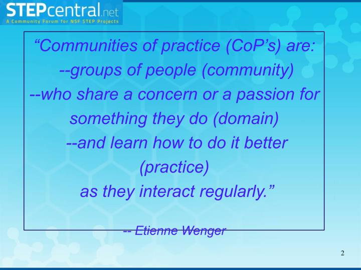 """Communities of practice ("
