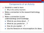 components of an activity