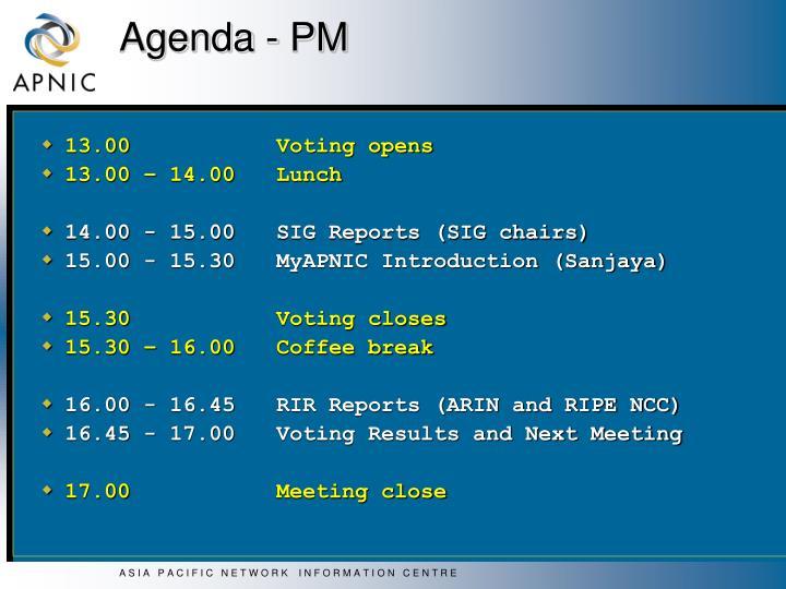 Agenda - PM
